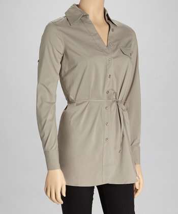 Dark Khaki Pocket Button-Up