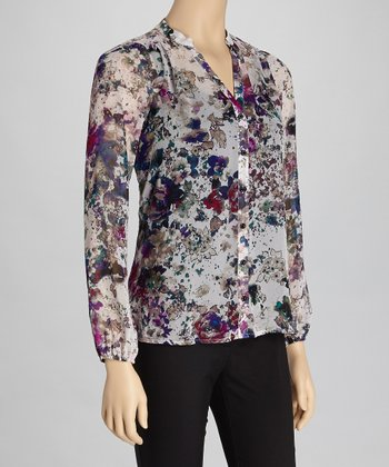 Purple Floral Sheer Lily White Button-Up