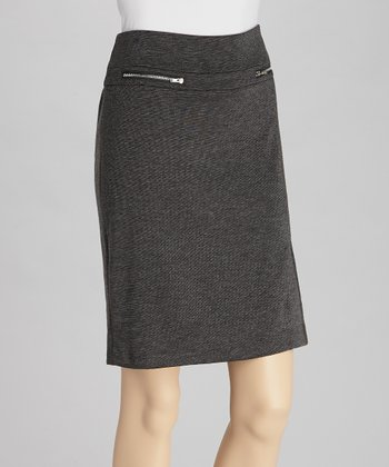 Charcoal Ponte Zipper Skirt