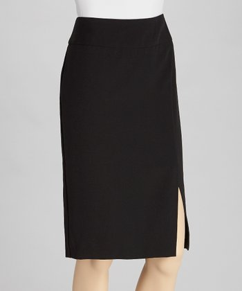 Black Crepe Pencil Skirt