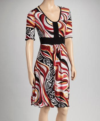 Red & White Abstract Color Block Short-Sleeve Dress