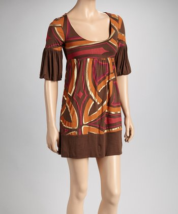 Brown & Coral Empire-Waist Dress