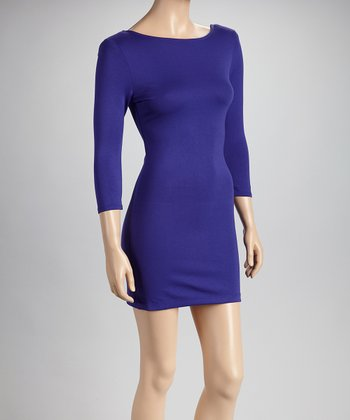 Purple Long-Sleeve Dress