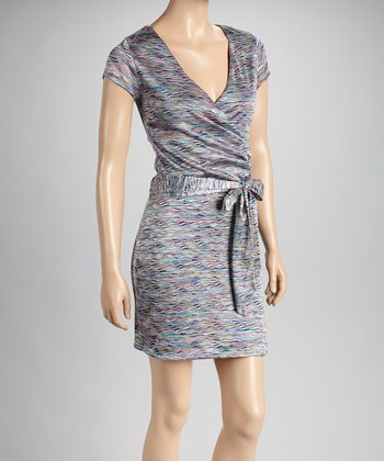 Gray & Blue Wrap Dress