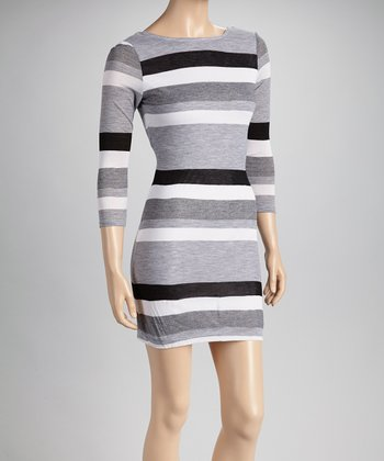Black & Gray Stripe Long-Sleeve Dress