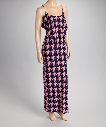 Navy & Pink Houndstooth Maxi Dress