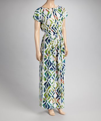 White & Green Watercolor Maxi Dress