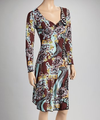 Brown & Blue Abstract Long-Sleeve V-Neck Dress