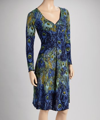 Blue & Green Peacock Long-Sleeve V-Neck Dress