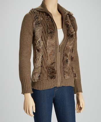 Brown Faux Fur Zip-Up Sweater