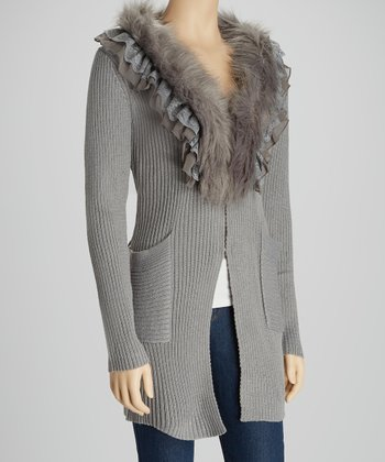 Gray Faux Fur Ruffle Duster