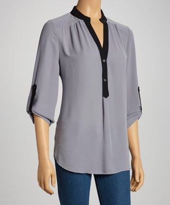 Gray & Black Three-Quarter Sleeve Surplice Top