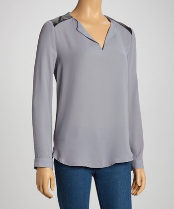Gray & Black Split Neck Long-Sleeve Top