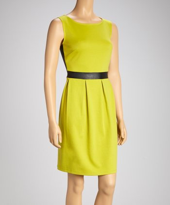 Chartreuse & Black Pleated Sleeveless Dress