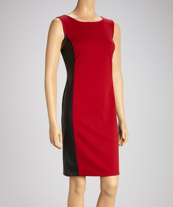Berry & Black Color Block Sleeveless Dress