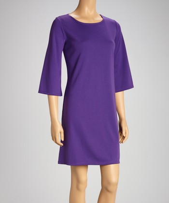 Purple Bell-Sleeve Shift Dress