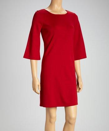 Tacera Wine Bell-Sleeve Shift Dress