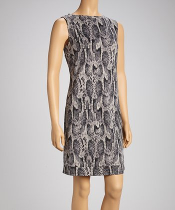 Gray Snakeskin Sleeveless Dress