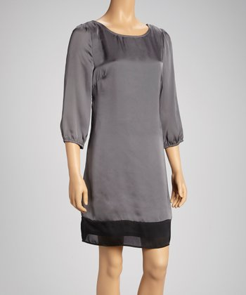 Tacera Silver & Black Three-Quarter Sleeve Shift Dress