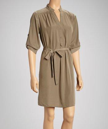 Tacera Olive Roll-Tab Sleeve Shirt Dress