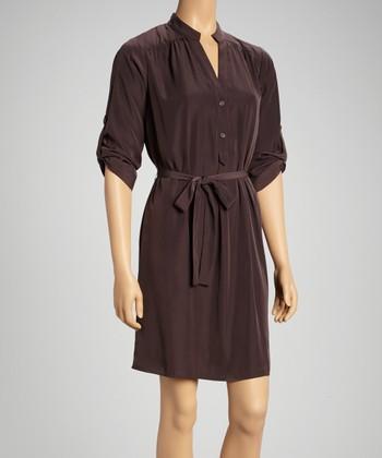 Tacera Brown Roll-Tab Sleeve Shirt Dress