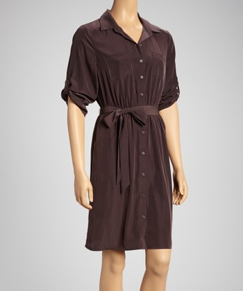 Brown Pocket Roll-Tab Sleeve Shirt Dress