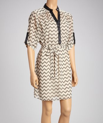 Ivory & Black Zigzag Roll-Tab Sleeve Shirt Dress