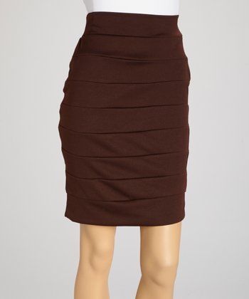Brown Layer Pencil Skirt