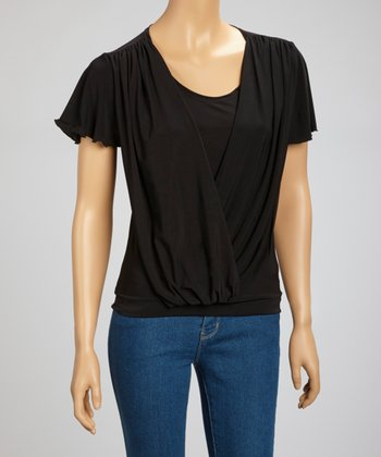 Black Drape Angel-Sleeve Top
