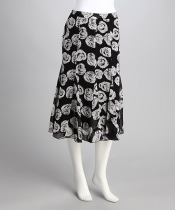 Black & White Rose Trumpet Skirt