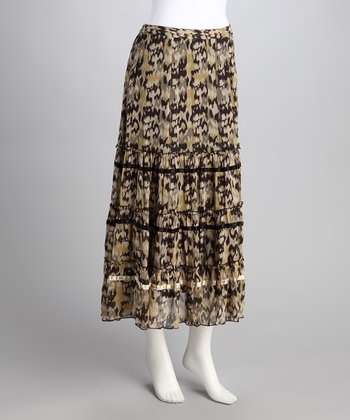 Chocolate Ikat Print Maxi Skirt