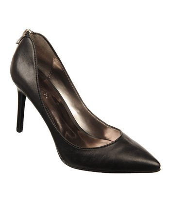 Black Leather Daring Pump
