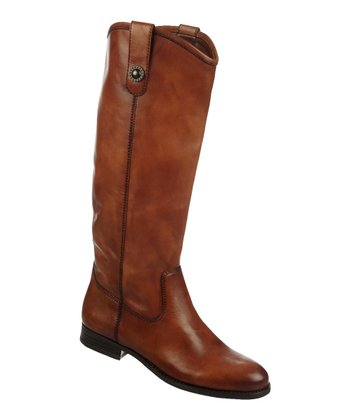Cognac Fawn Leather Boot