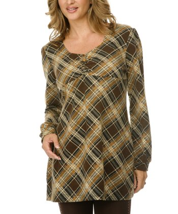 Brown Plaid Empire-Waist Tunic - Women