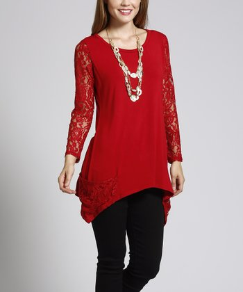Ruby Red Shark Bite Lace-Sleeve Sidetail Top