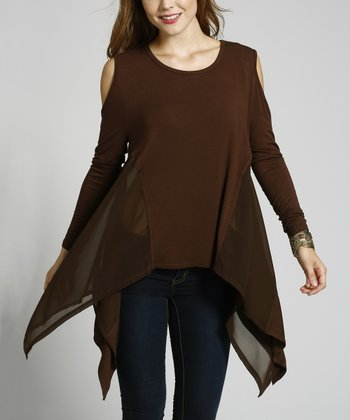 Coffee Chiffon-Trim Cutout Handkerchief Top