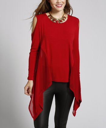 Ruby Red Chiffon-Trim Cutout Handkerchief Top