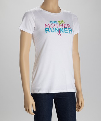 White 'One Bad Mother Runner' Tee - Women