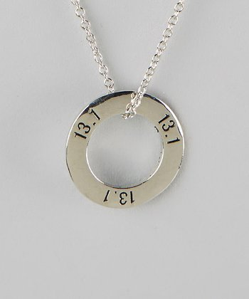 Silver '13.1' Half Marathon Ring Necklace