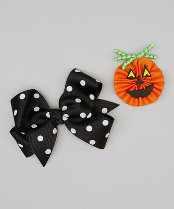 Black & Orange Polka Dot Jack-o'-Lantern Bow Set