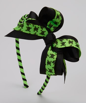 Green & Black Skull Bow Headband