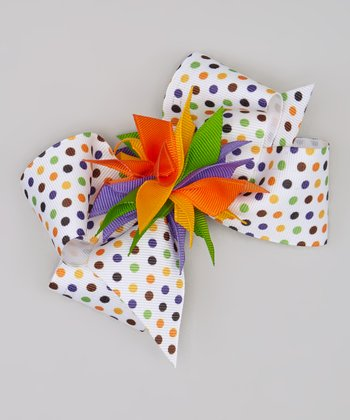 White & Orange Polka Dot Bow Clip