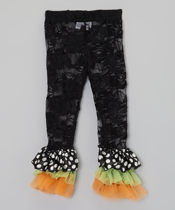 Black & Orange Polka Dot Lace Ruffle Leggings - Infant, Toddler & Girls