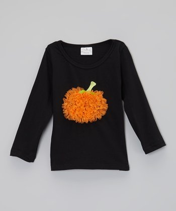 Black & Orange Pumpkin Ruffle Long-Sleeve Tee - Infant & Toddler