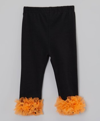Black & Orange Ruffle Pants - Infant & Toddler