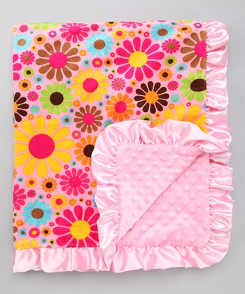 Pink Flower Child Stroller Blanket