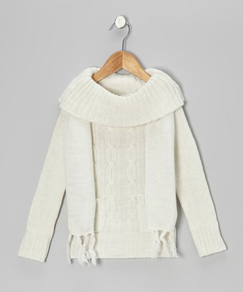 Cream Sparkle Marilyn Neck Sweater & Scarf - Girls
