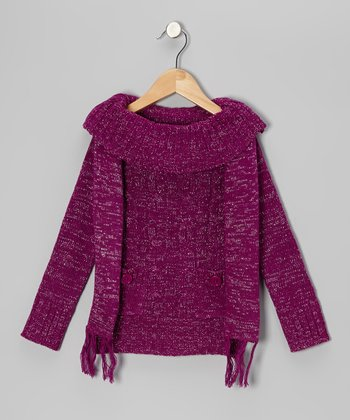 Purple Sparkle Marilyn Neck Sweater & Scarf - Girls