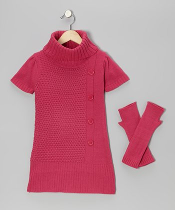 Fuchsia Turtleneck Sweater & Arm Warmers - Girls