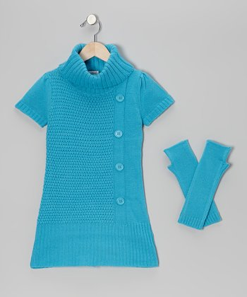 Blue Turtleneck Sweater & Arm Warmers - Girls